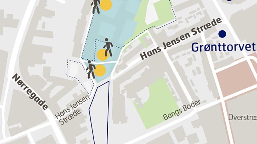 Illustration af mulighederne for at bevæge sig fra bydel til bydel under ombygningen af Thomas B. Thriges gade