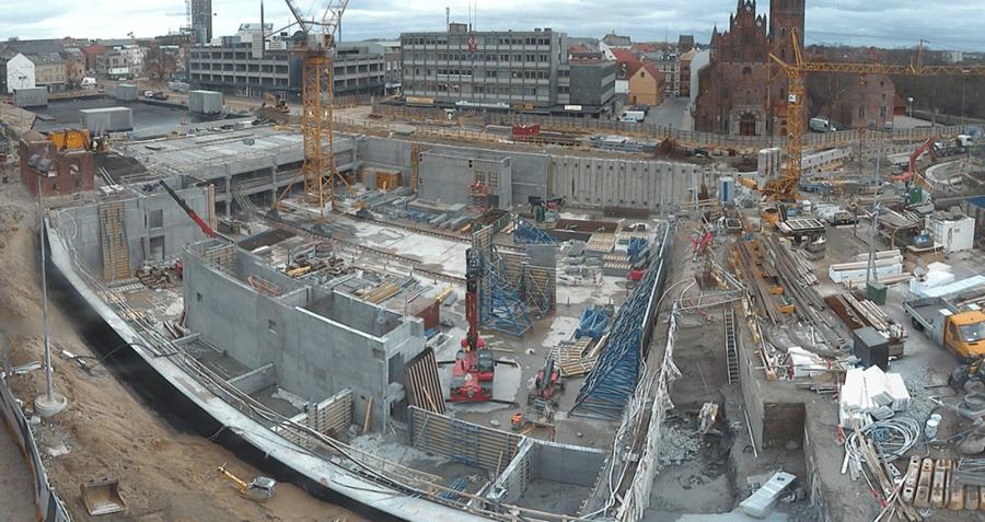 Webcam foto der viser byggepladsen ved den gamle Thomas B. Thriges gade oppefra